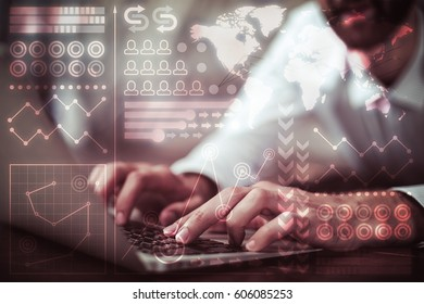 Side view of businessman's hands using laptop with abstract digital pattern. Technology concept