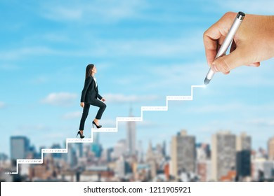 Side view of businesswoman climbing drawn stairs on blurry sky city background. Career development concept