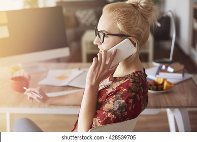 Side view of calling woman