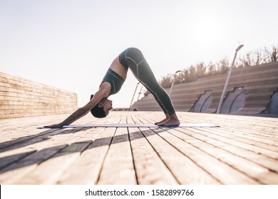 Side view of calm meditative woman in modern sport clothes in downward-facing dog yoga position while practicing on mat in sunlight