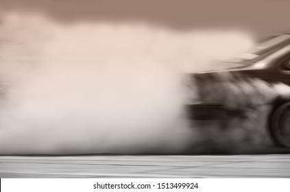 Side view car drifting on track with grain, Sport car wheel drifting and smoking on track.