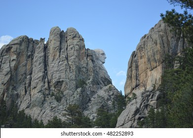 A side view of the carving of  Gutzon Borglum of George Washington on Mount Rushmore in the Black Hills of South Dakota