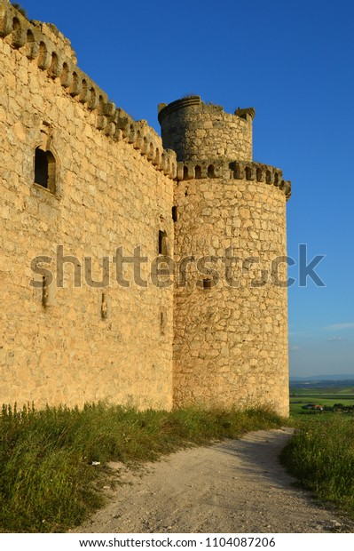 side view of the castle of the Silva in Barcience province of Toledo. Castilla La Mancha. Spain