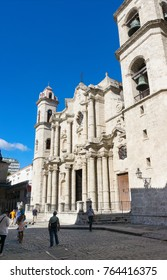 Side view of The Cathedral in Havana, Cuba