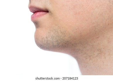 Side view of caucasian young man clean shave closeup