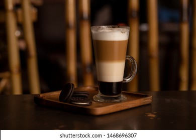 Side view of chocolate mocha in glasses cup