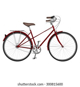 Side view of classic bicycle with chrome detail some of the elements. 3D graphic object on white background isolated