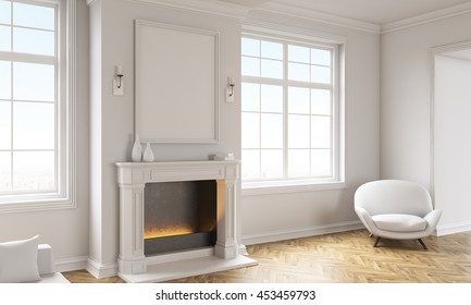 Side view of classic living room interior with wooden floor, white armchair, windows with city view and a blank picture frame above fireplace. Mock up, 3D Rendering