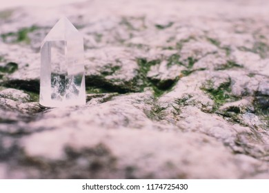 A side view of a clear quartz.