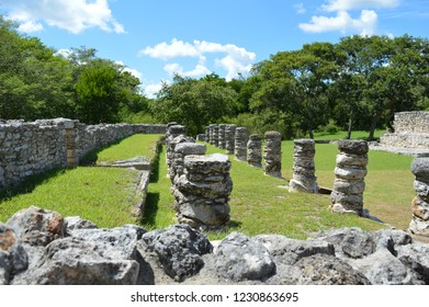 side view of colums at mayapan