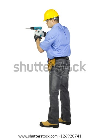 Side View Construction Worker Wearing Hard Stock Photo Edit Now