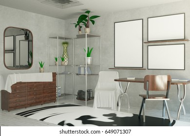 Side view of creative interior with empty picture frames, patterned carpet and mirror. Mock up, 3D Rendering