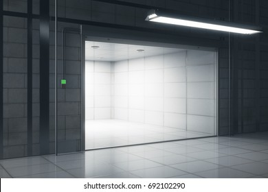 Side view of creative tile interior with illuminated opened garage door. Mock up, 3D Rendering