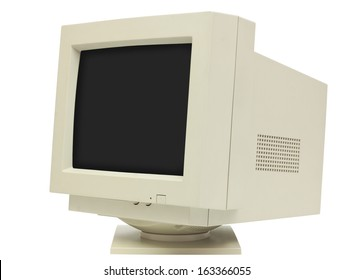 Side view of CRT monitor isolated on white with clipping path - plain dark screen for copy