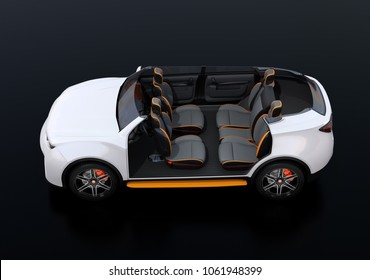 Side view of cutaway white self-driving Electric SUV car on black background. Front seats turned to backward. 3D rendering image.