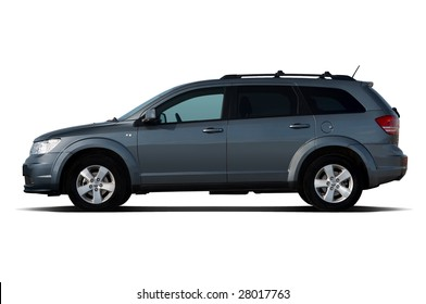Side view of dark-blue crossover isolated on white