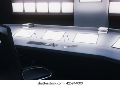 Side view of desk with blank screens in security room. Mock up, 3D Rendering