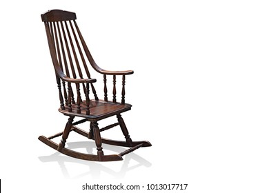 Side View Di Cut Rocking Chair On White Background,copy Space