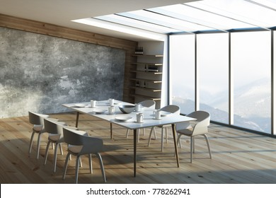 Side view of dining table with dishware in contemporary loft interior with sunlight. 3D Rendering