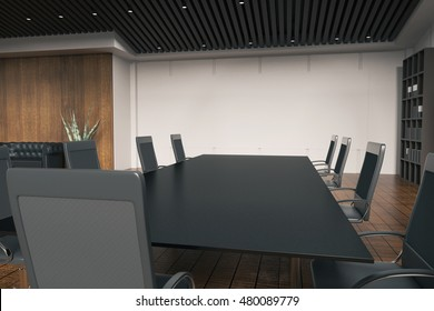 Side view of discussion table in office interior with wooden floor, concrete wall, bookshelves and other equipment. 3D Rendering