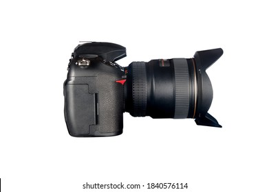 Side view of a DSLR camera and lens isolated on white.