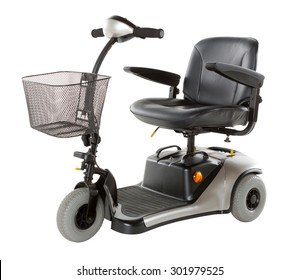 Side view of an electric scooter built for people that are unable to walk longer distances.