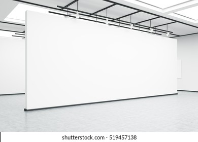 Side view of an empty exhibition hall wall. Concrete floor, bright lightning. Concept of modern art. 3d rendering. Mock up.