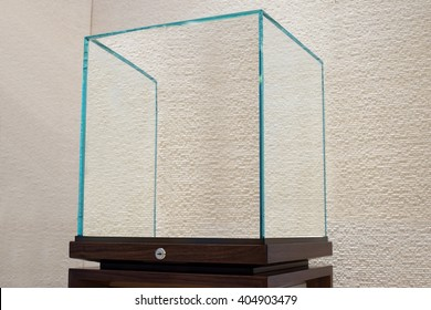 side view of Empty glass showcase display