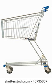A side view of an empty metal shopping cart isolated on white.