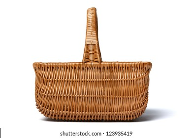 Side view of empty wicker basket isolated on white background