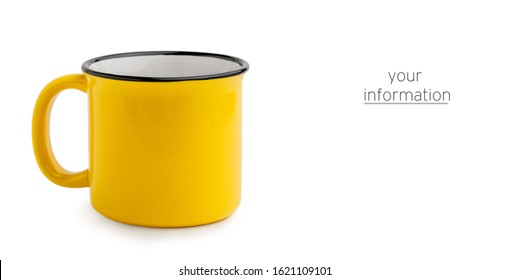 Side view of empty yellow enamel coffee mug isolated on white background