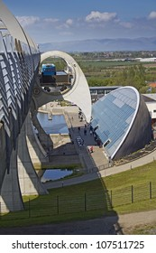 Side View of the Falkirk Wheel descending carrying a passerger barge. Falkirk, Central Scotland, UK.
