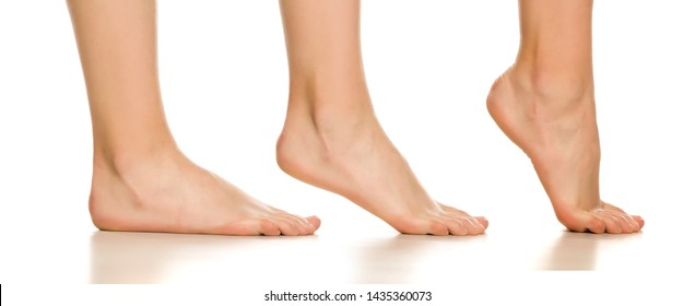 Side view of female bare foot in three different positions on white background