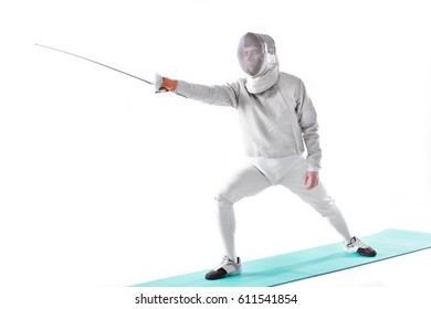 side view of fencer in uniform training with rapier in hand  isolated on white