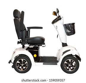 Side view of a four wheel, white, electric scooter with a high back support and a shopping basket.