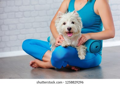 Side view framed picture of a woman at the yoga with pets