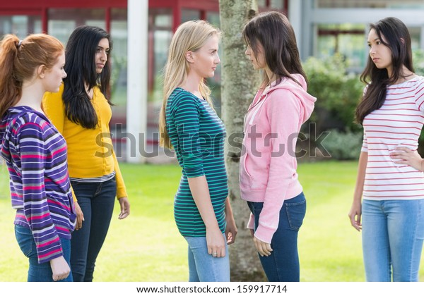 Side view of friends watching two college girls having a conflict in the park