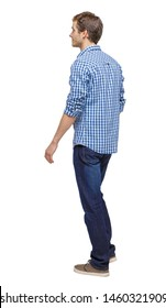 Side view of going handsome man. walking young guy . Rear view people collection. Isolated over white background.