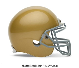 Side View of Gold Football Helmet with Copy Space Isolated on White Background.