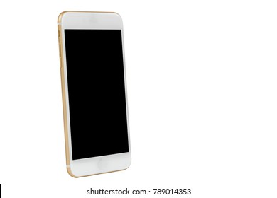 side view of gold mobile phone isolated on white background
