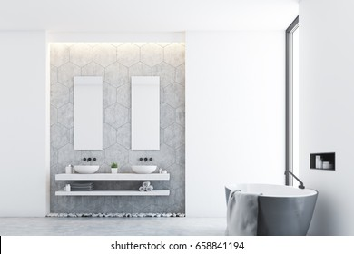 Side view of a gray modern bathroom interior with a gray tub standing near a window, a large towel hanging on its side and two sinks with mirrors. 3d rendering, mock up