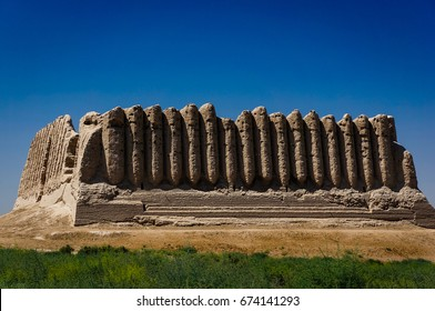 Side View of Great Kyz Qala or 'Kiz Kala' (Maiden's Castle) the Historical Site in Ancient Merv, Southeastern of Turkmenistan.