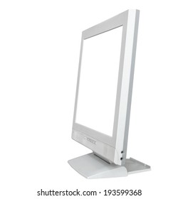 side view of grey computer display with cut out screen isolated on white background