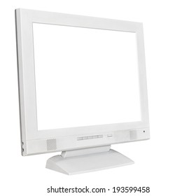 side view grey computer display with cutout screen isolated on white background