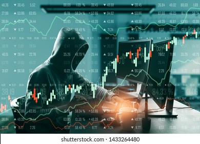 Side view of hacker in hoodie using laptop with glowing forex chart in blurry office interior. Theft and trade concept. Double exposure