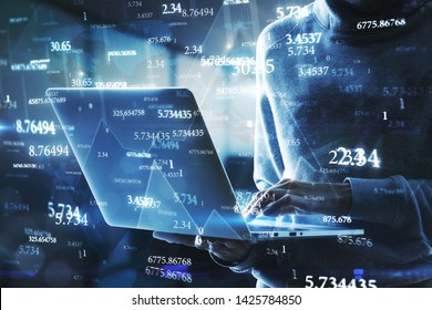 Side view of hacker using laptop with abstract big data interface on blurry background. Software and technology concept. Multiexposure