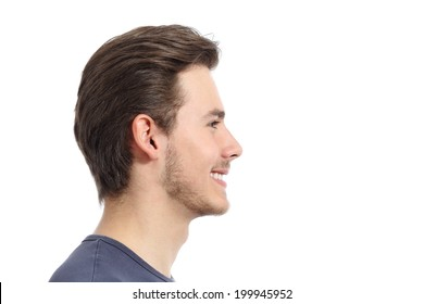Side view of a handsome man facial portrait isolated on a white background