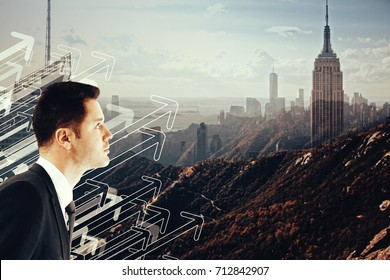 Side view of handsome young businessman on creative city landscape background with drawn upward arrows. Leader socncept. Double exposure