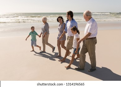 Side view of happy multi-generation family holding hands and walking on beach in the sunshine
