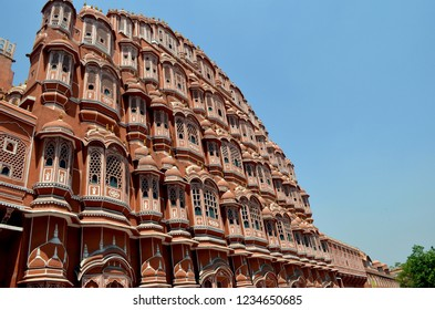 Side view of Hawa Mahal. Hawa Mahal is constructed of red and pink sandstone. The structure was built in 1799 by Maharaja Sawai Pratap Singh  in Jaipur, Rajasthan, India.